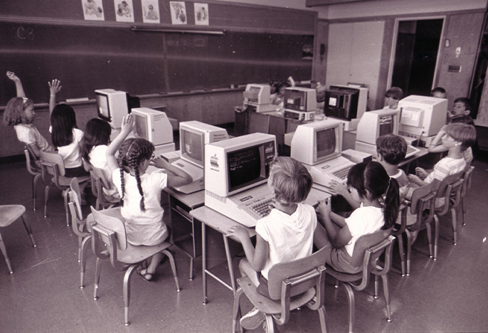 Student in a computer classroom circa 1985