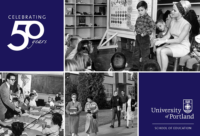 Celebrating 50 Years with three historical photos of teachers from the 1950s and 1960s